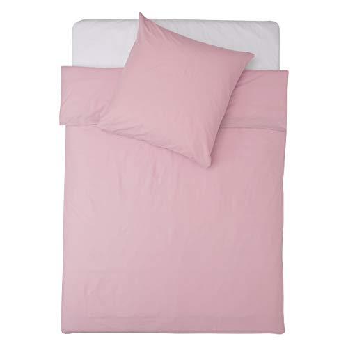 Lumaland Premium Bettwäsche Everyday Ganzjahres Bettbezug mit YKK Reißverschluss 135x200cm & Kissenbezug 80x80cm Rosa