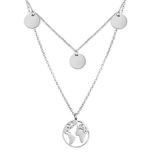 SHINE & WANDER Wanderlust Necklace Bundle   Layered Damen Edelstahl Halskette mit 3 Plättchen und Globus Anhänger   längenverstellbar (Silber)