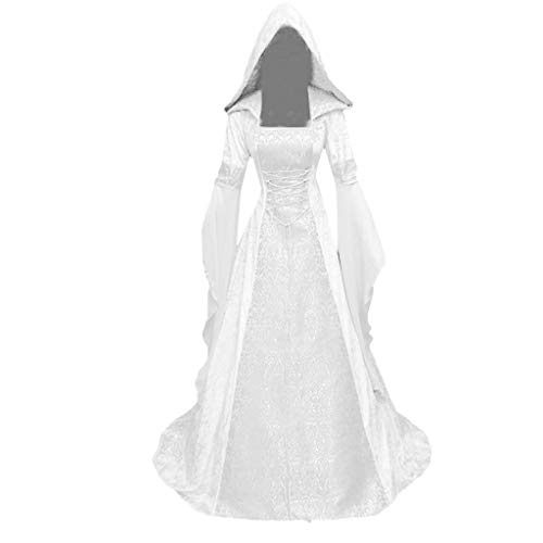 Plus Size Medieval Dress for Womens Hooded Vintage Gothic Cosplay Celtic Halloween Dress Lace Up Long Irish Gown White