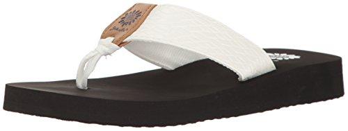 Yellow Box Women's Flax Wedge Sandal, White, 9 M US