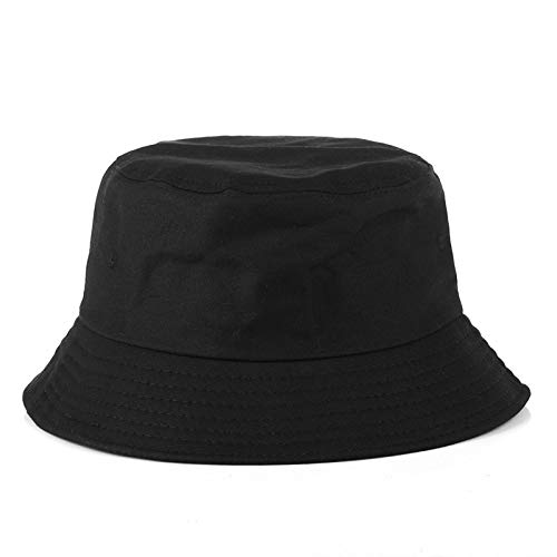 Bucket Hats Fashion Women Bucket Hat New Candy Colors Smile Face Sun Hat Outdoor Sports Travel Beach Caps Fishermen Hats Hip Hop Female Cap Fisherman's hat (Color : Pure Black, Size : One Size)