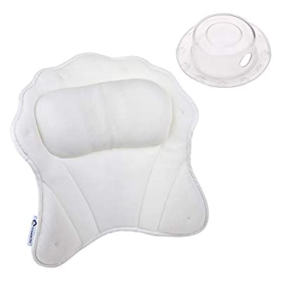 Comfecto Luxurious Spa Bath Pillow for Women & Men, Ergonomic Bathtub Cushion for Neck, Head & Shoulders, with QuiltedAir Mesh for Breathable Comfort, Including Drain Cover
