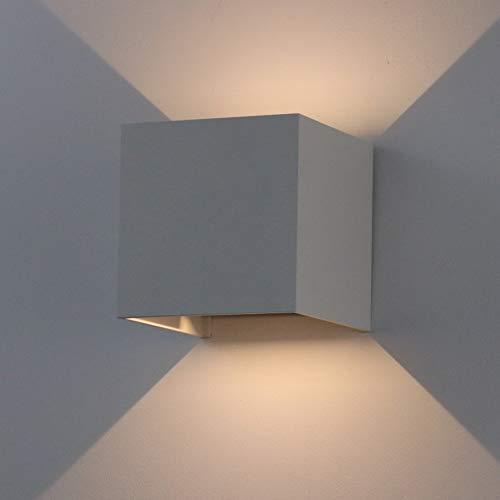 K-Bright 7W Aussenleuchte,3000K Warmweiß Aussenlampe Wandleuchte 3.9X3.9X3.9 Zoll Wandlampe aus Aluminium,grau