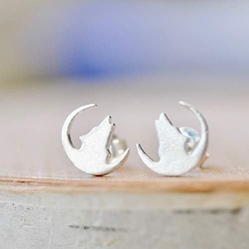 Howling Wolf Earrings in Sterling Silver 925