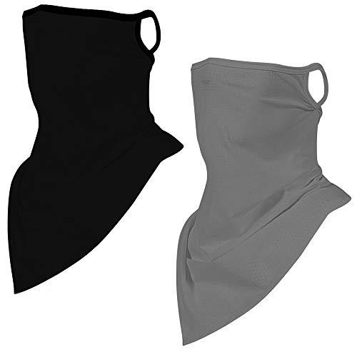 2pcs Neck Gaiter with Ear Loops,Face Scarf Balaclava for Dust Wind Riding Face Bandana Mask Reusable Women Men (Black/Grey)