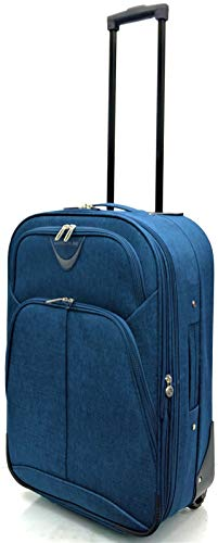 EasyJet, BA, Jet 2, Super Lightweight Expandable Cabin Approved Trolley 2 Wheeled Luggage Bag, FITS Within 56 x 45 x 25cm (21' EasyJet, Navy)