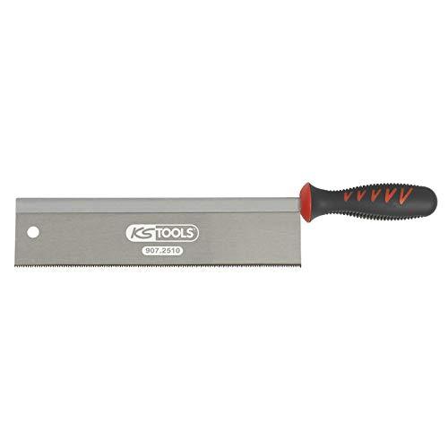 KS Tools 907.251 - Sierra de espalda para trabajos de acabado (250 mm, 2 ángulos de corte de 13 ppp, mango de dos materiales), color blanco