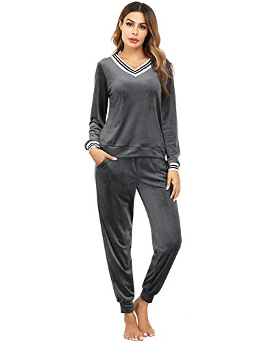 Irevial Jogging Suits for Women, Ladies 2 Piece Sweatsuit Long Sleeve Striped V Neck Pamajas Sets Tracksuit Outfits Casual Activewear with Pockets Gray L