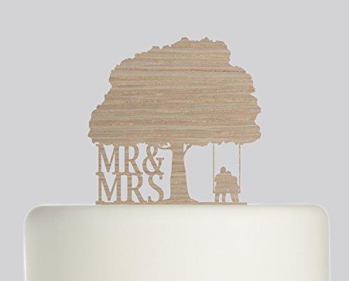 Bride And Groom Mr & Mrs Couple on Swing under Oak Tree Wedding Cake Topper Acrylic Cake Topper - Oak Wood Acrylic