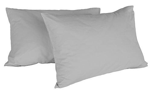 Italian Bed Linen Max Color Coppia di Federe Tinta Unita, 100% Cotone, Grigio Chiaro, 52 x 82 cm