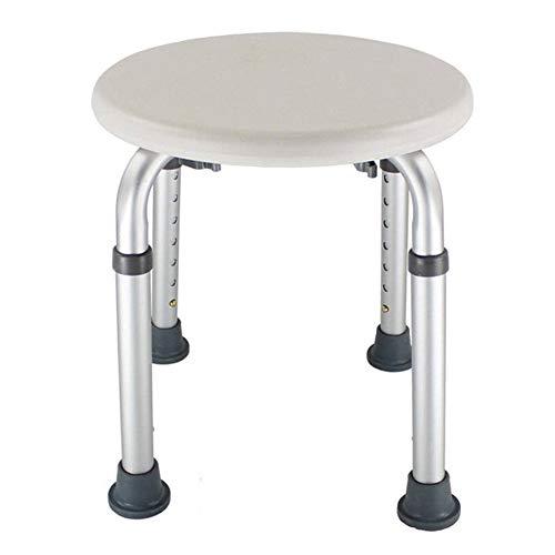 HLL Silla para el hogar ajustable en altura, asiento de baño antideslizante redondo fácil de limpiar, taburete para ducha, muebles S/Blanco/Como se muestra