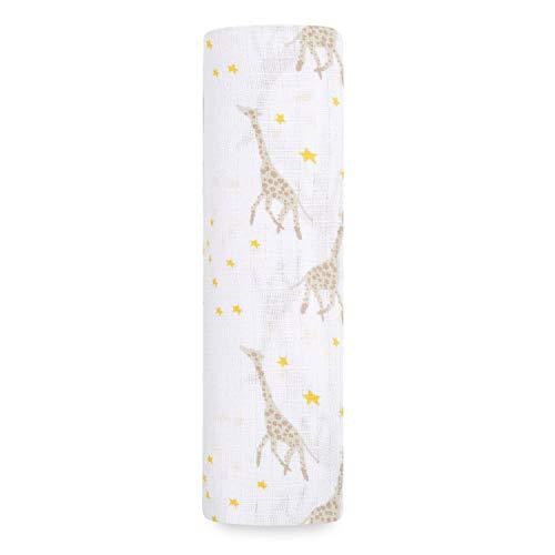 aden by aden + anais Une Couverture d'Emmaillotage en 100% Mousseline de Coton Starry Star Girafes 112 cm x 112 cm