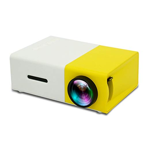Mini LED Projector, 320x240 Pixels Compatible with 1080P HDMI USB Portable Audio Projector Home Video Player, Suitable for A Variety of Scenarios (Color : Yellow White)
