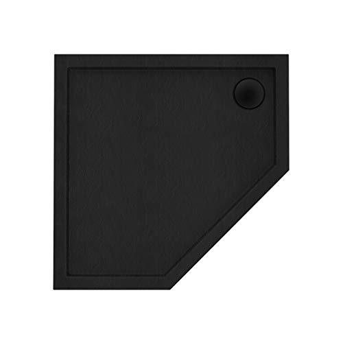 Plato de ducha negro pentagonal efecto piedra, 90 x 90 cm, 5 cm de alto