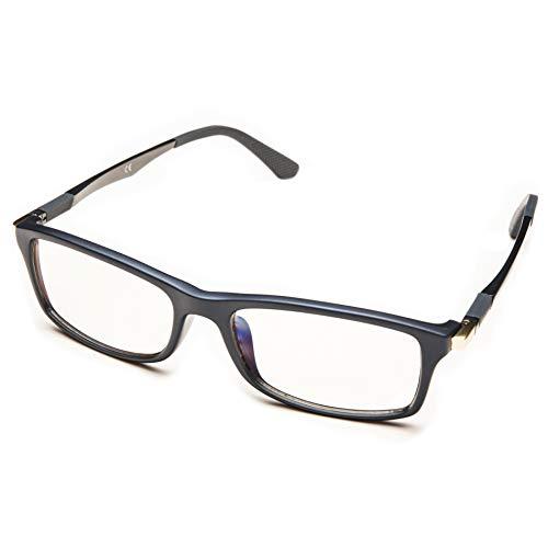 Prospek - Hochwertige Anti Blaulicht Computer Brillen - Anti-Blendschutz, Anti-Reflektierend, Anti- Ermüdung, Schutz vor UV und Computer/TV (Grau | Große, 0.00)
