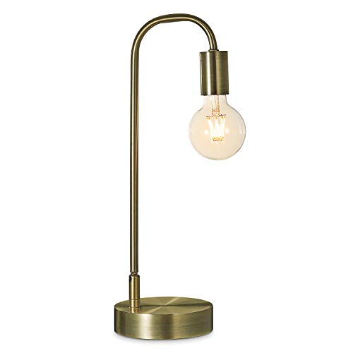Keymit 3 Way Dimmable Industrial Lamp, Matte Brass LED Edison Bedside Lamp, Minimalist Table Lamp for Bedroom Living Room, Nightstand, Edison Warm Glow G80 8W 2200K LED Filament Bulb Included
