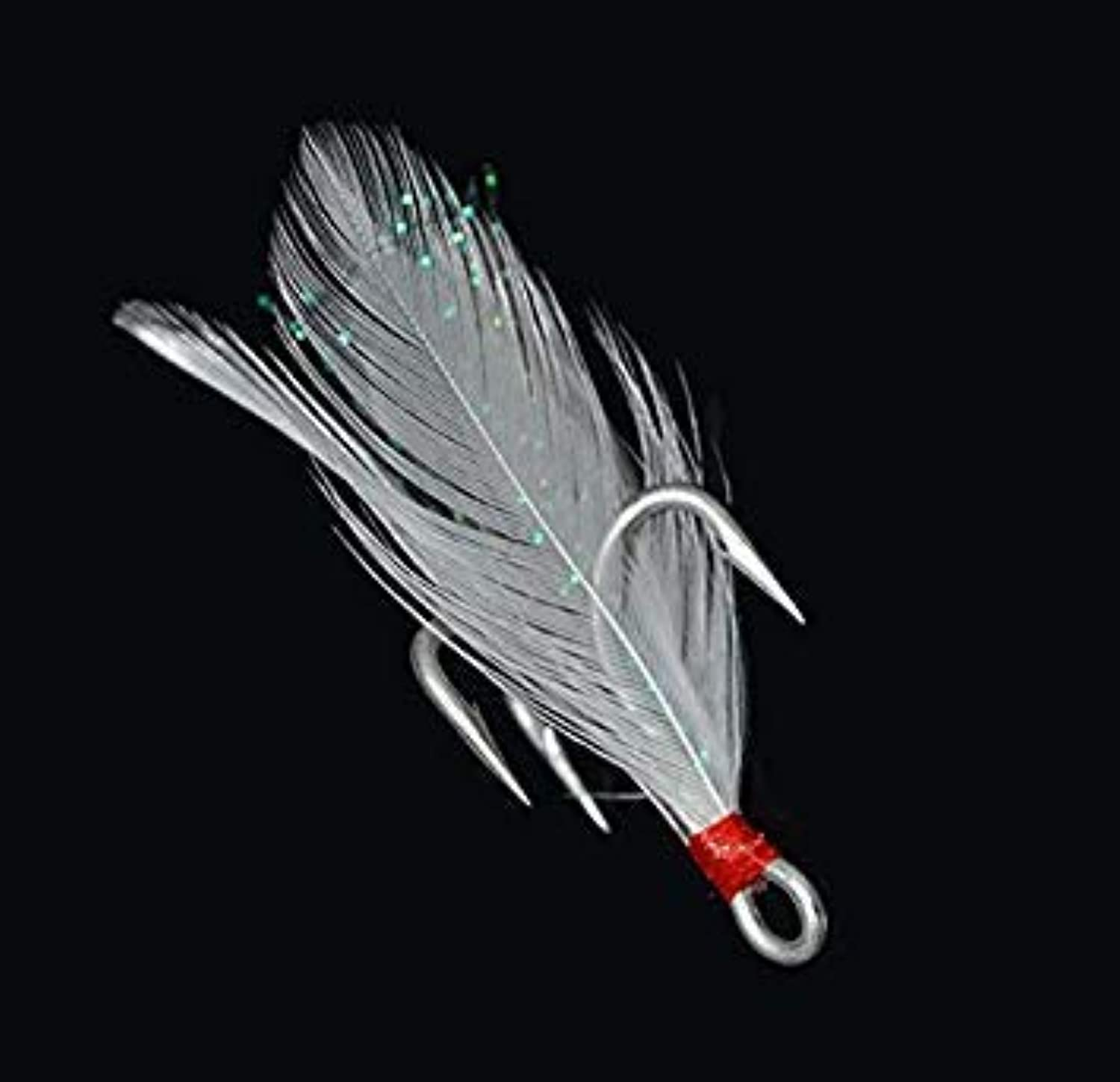 2   50pcs Treble Fishing Hook with White Feather Strong Fishing Hook