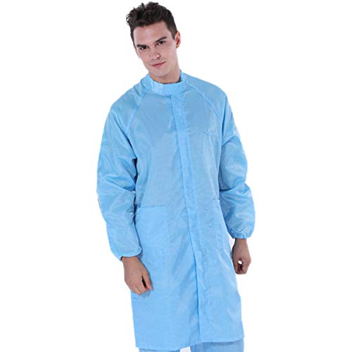 ESD Washable Anti-static Lab Coat Science Jacket Non-disposable Workwear Uniform Gown for Men/Women Long Sleeve (3XL, Blue)