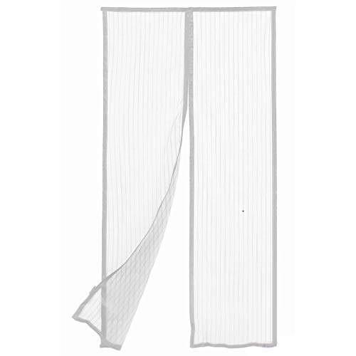 BricoShopping Mosquitera magnética con imán con 18 imanes para balcón y puerta, fijación rápida en ventanas y balcones, de madera y aluminio, sin dosel (145 x 240 cm, blanco)