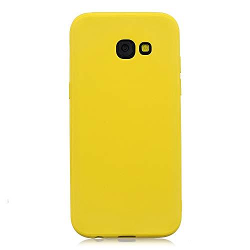 cuzz Funda para Samsung Galaxy A5 2017+{Protector de Pantalla de Vidrio Templado} Carcasa Silicona Suave Gel Rasguño y Resistente Teléfono Móvil Cover-Amarillo