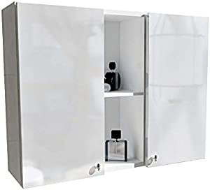 PlatanRoom Badezimmer Hängeschrank Wandschrank 25cm 30cm 60cm 80cm breit Badhängeschrank mit Fronten in Hochglanz weiß/schwarz (Weiß Matt/Weiß Hochglanz, 80 cm)