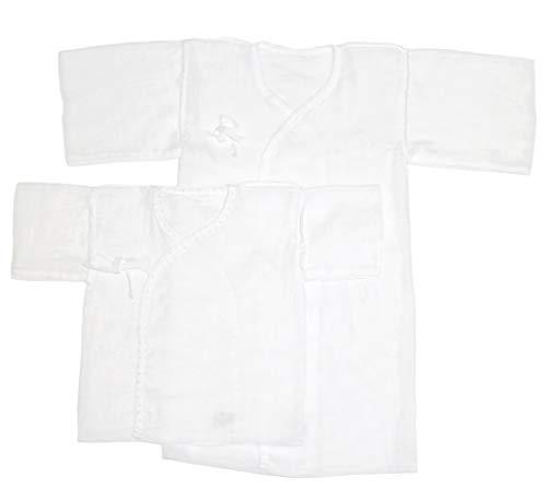 [trust map] 新生児用肌着 夏用 日本製 ガーゼ 4枚組 [綿100% ガーゼタイプ 夏に最適 50cm-60cm 短肌着2枚 長肌着2枚 ]