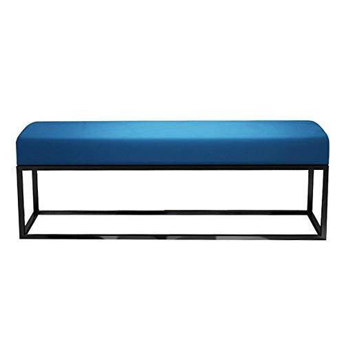 Nuokix Guardar espacio Los asientos del banco cómodo banco de zapatos Sofá largas con estructura de metal otomana pierna con asiento acolchado Cama Fin de heces for Pasillo Sala de estar (Color: azul,