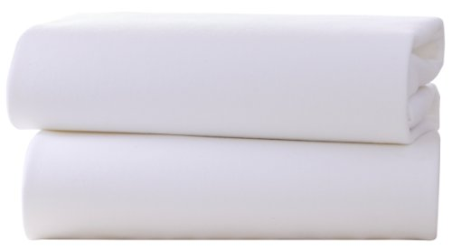 Clair de Lune Lot de 2 drap-housses pour landau/berceau en jersey de coton Blanc