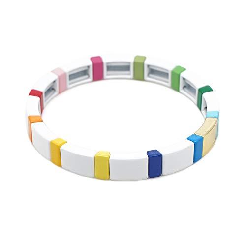 KANYEE Stretch Armband Fliesen Minimalist Bar Perlen Elastic Armreif Paare Freundschaft Casual Schmuck Unisex, Color 4