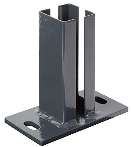 GAH-Alberts 685447 Pfostenträger für Eckpfosten für Doppelstabmatten | zum Aufschrauben | feuerverzinkt, anthrazit kunststoffbeschichtet RAL 7016 | Platte 150 x 80mm | für Pfosten 60 x 40 mm