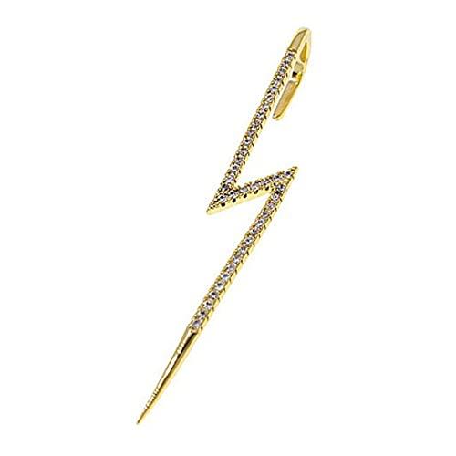 WEFH Pendientes incrustados Coreanos Diamantes de imitación Pendientes de perforación Simples Hoja Slash, Oro