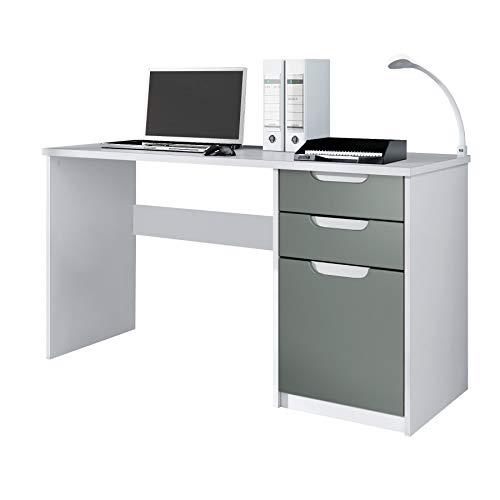 Escritorio Mesa para computadora Mueble de Oficina Logan, Cuerpo en Blanco Mate/frentes en Grafito Satinado