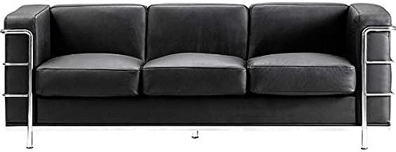 Rabinyod Bulan Mid Century Classic Lounge Sofa in Black Italian Leather Lounge Furniture
