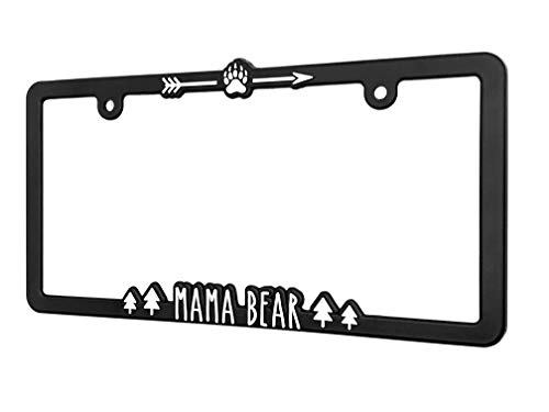 Spiffy Mama Bear License Plate Frame Holder Bracket for All US/CAN Vehicles | Original Design | Raised Lettering | Made in The USA | Great Gift for Momma Bears, Expecting Mothers, Baby Shower