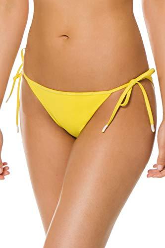 Kisuii Women's Gia Tie Side Hipster Bikini Bottom Yellow L