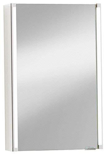 FACKELMANN Spiegelschrank LED-LINE / Badschrank mit Soft-Close / Maße (B x H x T): ca. 42,5 x 67 x 16,5 cm / Schrank mit Spiegel und LED-Beleuchtung / 1 Tür / Türanschlag frei wählbar / Korpus: Weiß