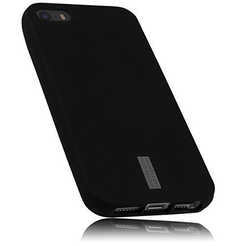mumbi Hülle kompatibel mit iPhone SE (2016) / 5 / 5S Handy Hülle Handyhülle, anthrazit mit grauem Streifen