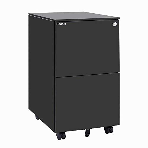 Bonnlo 2-Drawer Metal Filing Cabinet with Lock, Mobile File Cabinet, Under Desk Office Drawer Cabinet, Fully Assembled (Except Wheels) Black