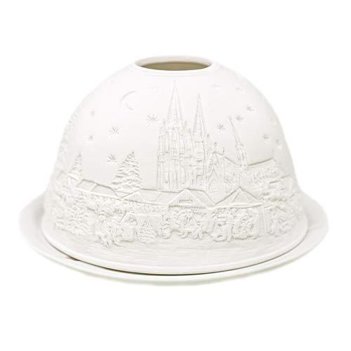 Porzellan-Teelicht-Windlicht, Starlight Nr.3, Dom/Kirche, Lithophanie weiß