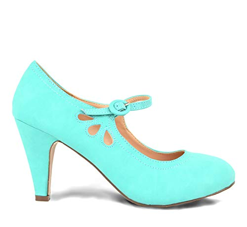 Chase & Chloe Kimmy-21 Women's Round Toe Pierced Mid Heel Mary Jane Style Dress Pumps (6 B(M) US, Mint)