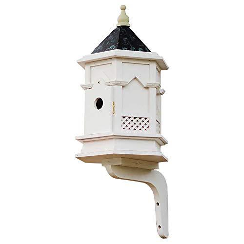 Outdoor Vogelhuisje Buiten Houten Bird House, Ventilatie Opknoping Huis Van De Vogel For Kleine Vogel Chickadees Mussen Tuin Decoratie (Color : Natural, Size : 25.5x28x60CM)