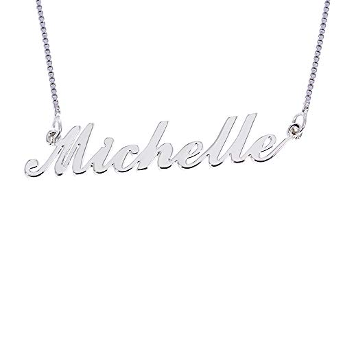 Custom Name Necklace Personalized Pendant Made Initial Birthstone Necklace with Box Chain 18K Gold Gifts for Women (Michelle in Silver)