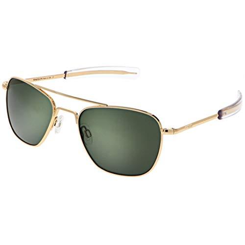 Randolph Engineering quadratische Piloten Sonnenbrille 23 k gold Agx grün AF056