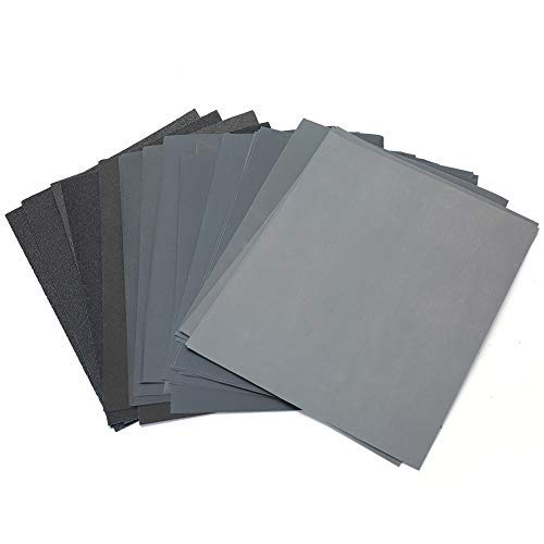 """80 to 3000 Grit Sandpaper Assortment, 30PCS 9 x 11"""" Dry Wet Sandpaper Sheets by LotFancy, Silicon Carbide Sanding Sheets, for Metal Sanding, Automotive Polishing, Wood Furniture, Wood Turing Finishing"""