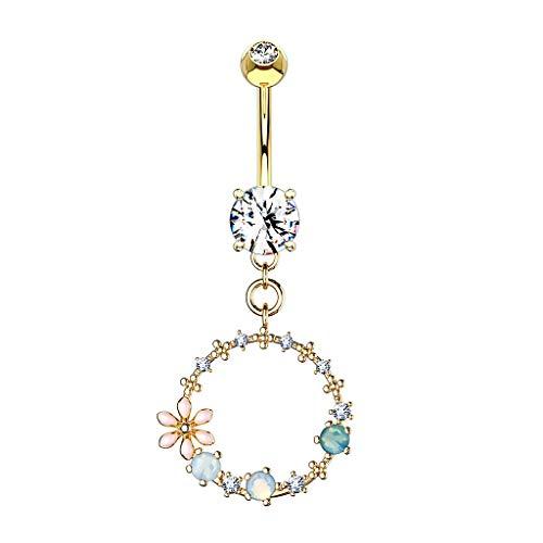 Paula & Fritz® Bauch-nabelpiercing Blumen-Ring Anhänger Synth Opal Zirkonia 316L Chirurgenstahl Bauch-Piercing Bananabell Nabel-Piercing Gold