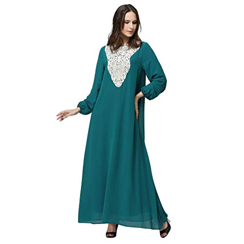 Womens Chiffon Kaftan Muslim Dress, Islamic Abaya Maxi Dresses Floral Casual Long Party Wedding Cocktail Evening Gown Blue