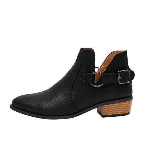Stiefeletten Damen Chelsea Boots Ankle Leder Blockabsatz Kurzschaft Stiefel 5Cm Absatz Schuhe Winter Elegant, Schwarz, 40 EU