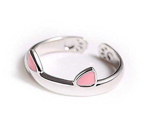 leisial L 'anillo de cristal de anillo de modo de anillo Apre los pendientes del gato del anillo de tamaño de dibujo Gli accesorios vírgenes dei Monili de niñas de las mujeres