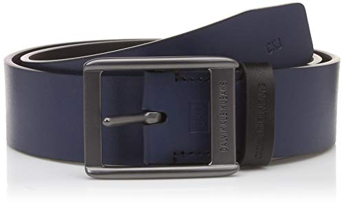 Calvin Klein Jeans Men's Leather Belt (HC0507_Navy/ Black_80)