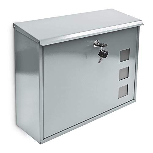 Relaxdays Design Briefkasten mit Dekor-Fenster Metall Silber